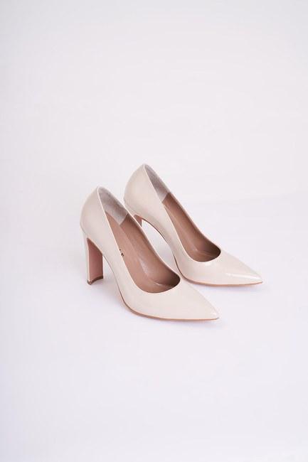 Mizalle - Kalın Topuklu Stiletto (Bej) (1)