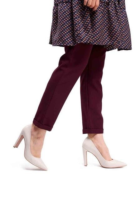 Mizalle - Kalın Topuklu Stiletto (Bej)