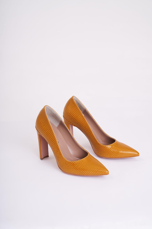 Kalın Topuklu Stiletto (Hardal)