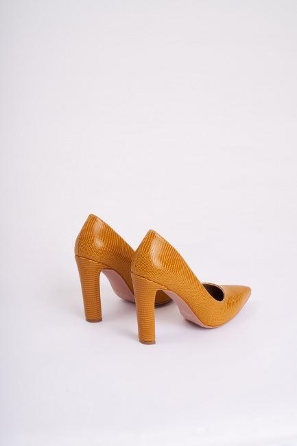 Kalın Topuklu Stiletto (Hardal) - Thumbnail