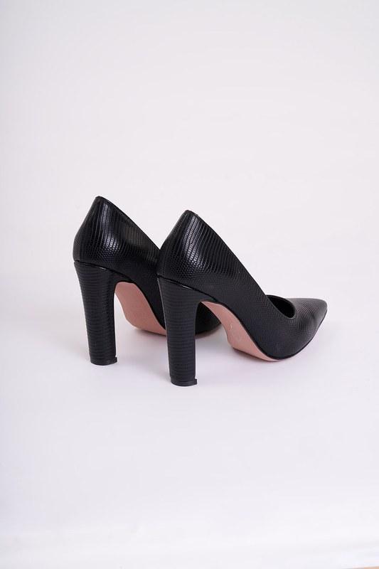 Kalın Topuklu Stiletto (Kroko Siyah)