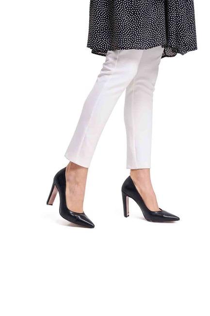 Mizalle - Kalın Topuklu Stiletto (Kroko Siyah)