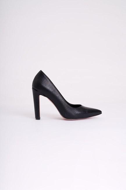 MIZALLE - Kalın Topuklu Stiletto (Kroko Siyah) (1)
