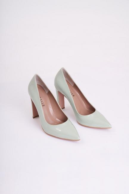 Mizalle - Kalın Topuklu Stiletto (Yeşil)