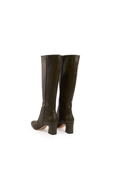 Kalın Topuklu Uzun Çizme (Haki) - Thumbnail