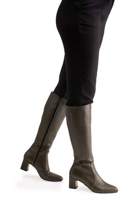 MIZALLE حذاء طويل بكعب سميك (كاكي)