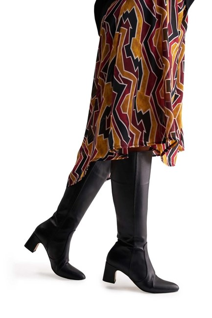 Kalın Topuklu Uzun Çizme (Siyah) - Thumbnail