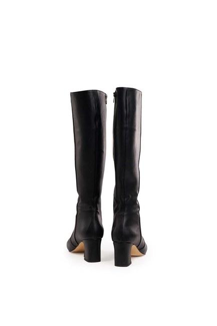 حذاء طويل بكعب سميك (أسود) - Thumbnail