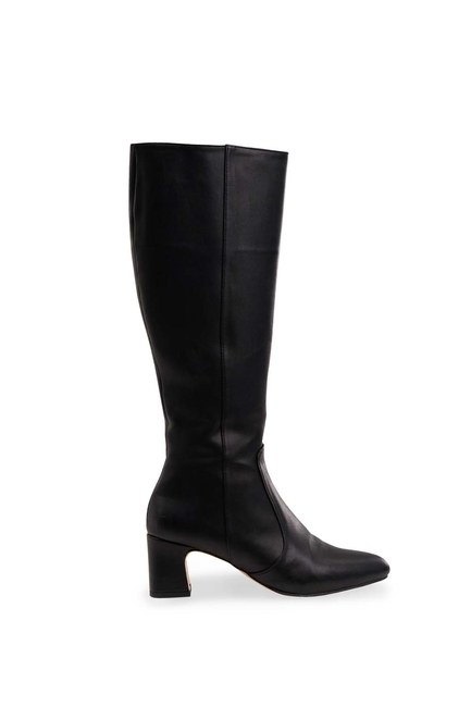 MIZALLE - Thick Heeled Long Boots (Black) (1)