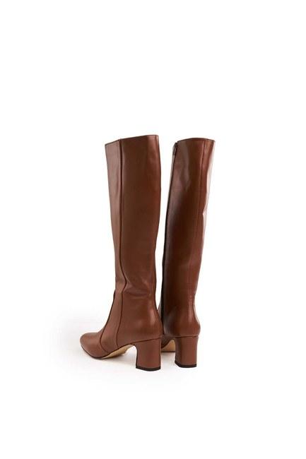 Kalın Topuklu Uzun Çizme (Taba) - Thumbnail