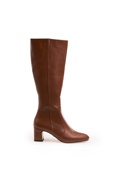 MIZALLE - Thick Heeled Long Boots (Tan) (1)