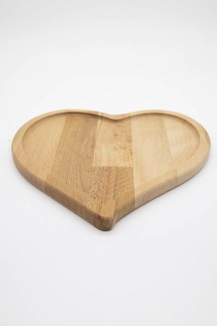 MIZALLE HOME - صفيحة عرض من خشب الخيزران على شكل قلب (خشب) (1)