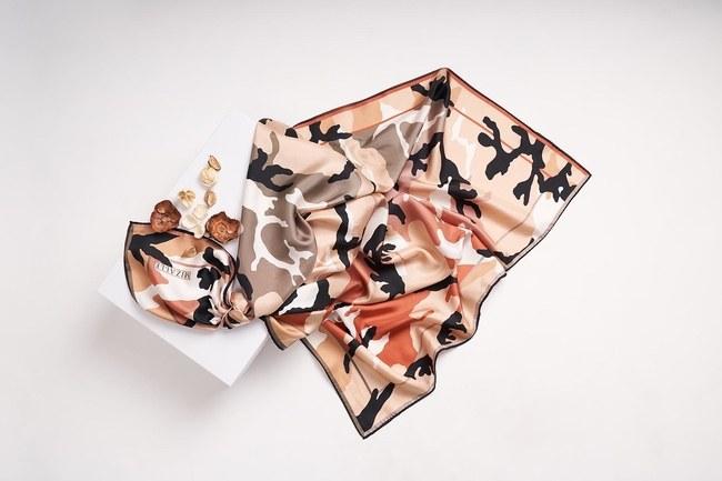 MIZALLE - Camouflage Silk Scarf (Black) (1)