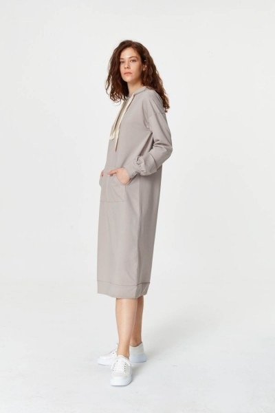 MIZALLE - Kanguru Cepli Sweatshirt (Gri) (1)