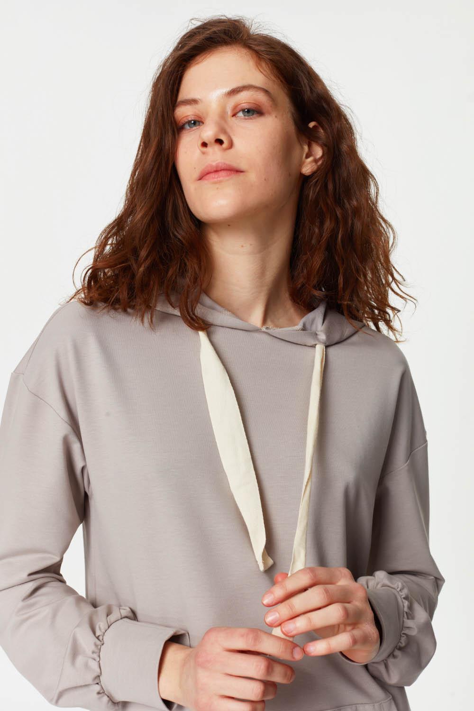 MIZALLE Kanguru Cepli Sweatshirt (Gri) (1)