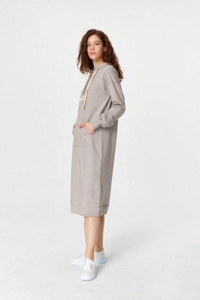 MIZALLE - Sweatshirt With Kangaroo Pocket (Grey) (1)