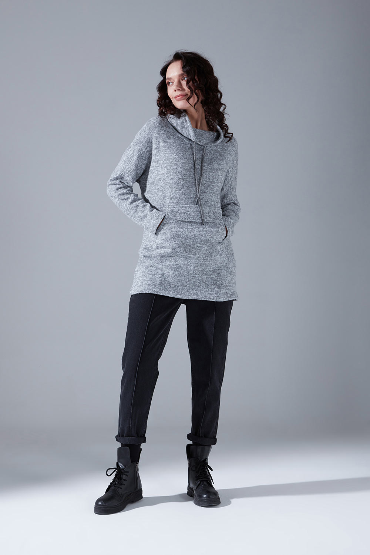 Mizalle - Kanguru Cepli Tüylü Sweatshirt (Gri)