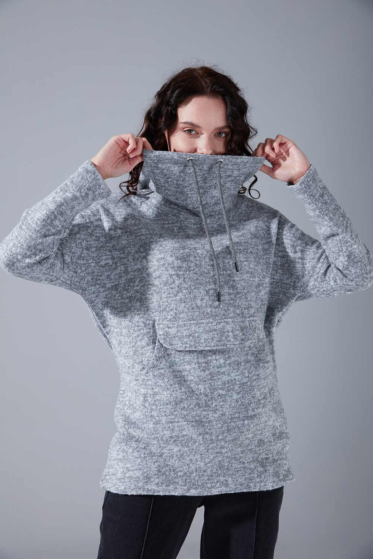 Kanguru Cepli Tüylü Sweatshirt (Gri) - Thumbnail