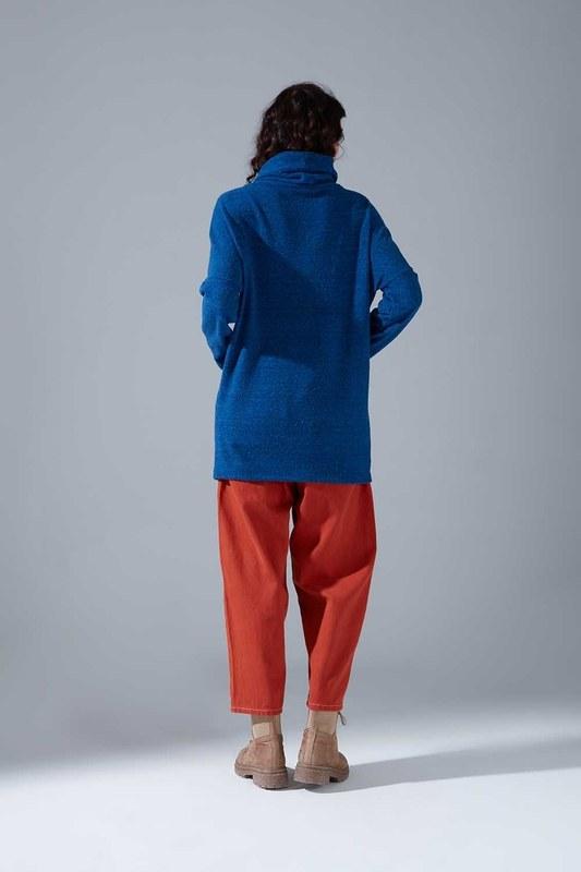 Kanguru Cepli Tüylü Sweatshirt (Mavi)