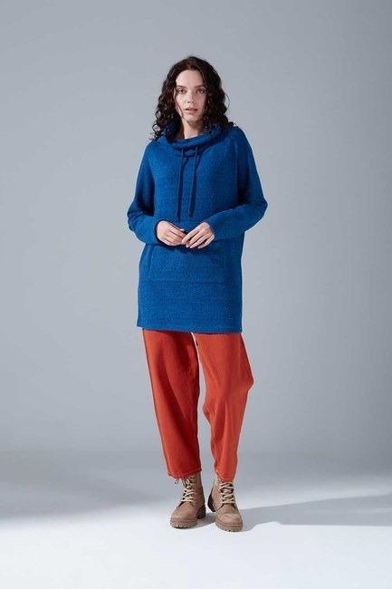 Mizalle - Kanguru Cepli Tüylü Sweatshirt (Mavi)