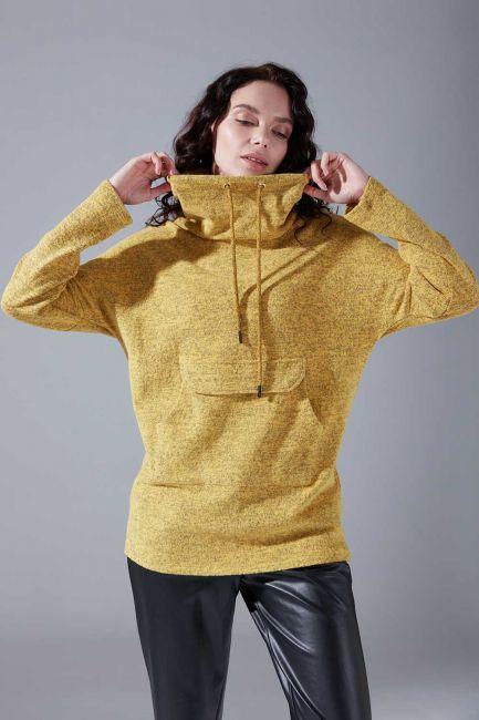 Kanguru Cepli Tüylü Sweatshirt (Sarı) - Thumbnail