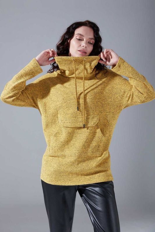 Kanguru Cepli Tüylü Sweatshirt (Sarı)