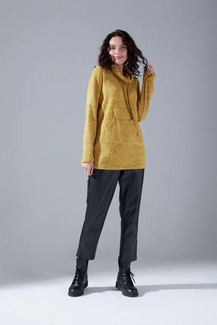 Mizalle - Kanguru Cepli Tüylü Sweatshirt (Sarı)