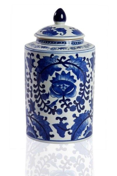 Blue Ceramic Cube With Lid - Thumbnail