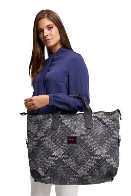 MIZALLE حقيبة كتف كبيرة مبطنة (أسود / أبيض)