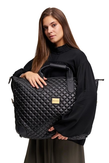 MIZALLE Quilted Large Shoulder Bag (Black)