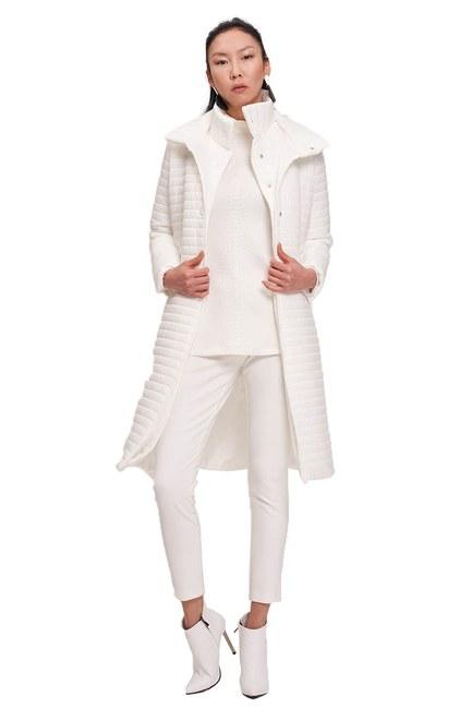 معطف مبطن طوق مزدوج (أبيض) - Thumbnail