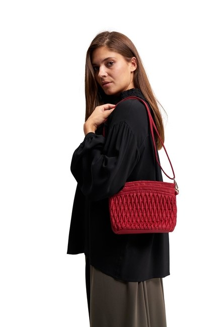 MIZALLE Quilted Shoulder Bag (Red)