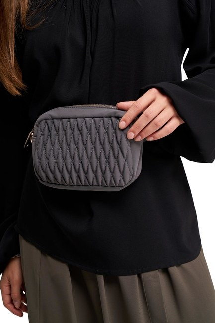 MIZALLE - Quilted Shoulder and Waist Bag (Grey) (1)