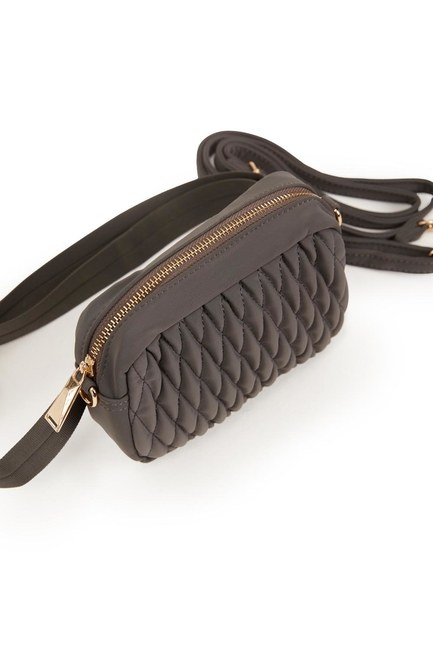 Quilted Shoulder and Waist Bag (Grey) - Thumbnail