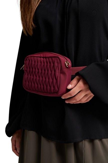 MIZALLE - حقيبة كتف وخصر مبطن (أحمر) (1)