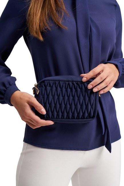 MIZALLE - حقيبة كتف وخصر مبطن (أزرق) (1)