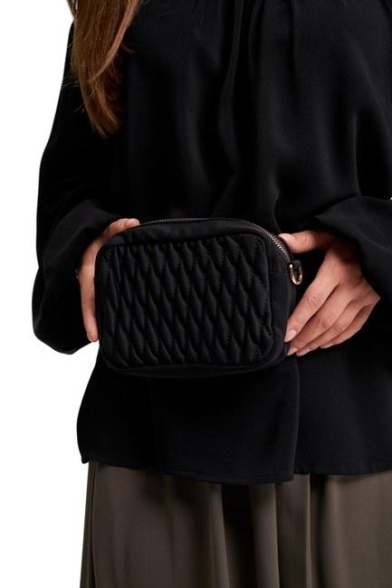 MIZALLE - حقيبة كتف وخصر مبطن (أسود) (1)