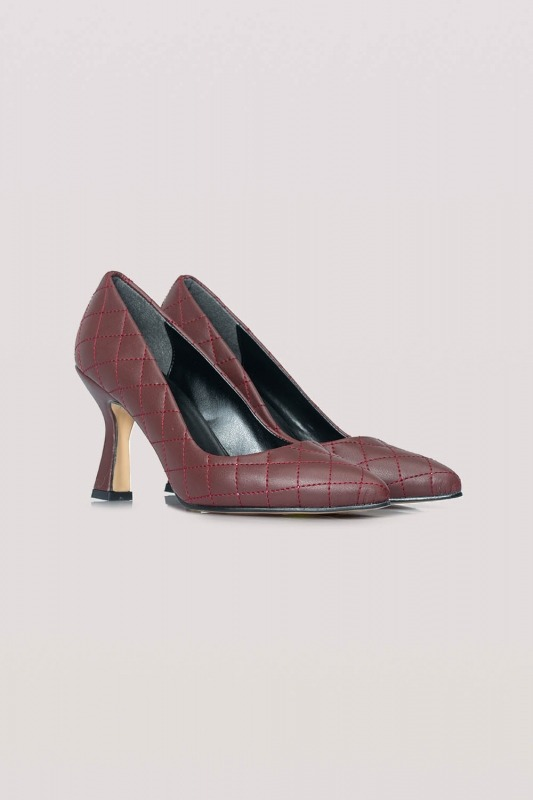 Kapitone Topuklu Ayakkabı (Bordo)