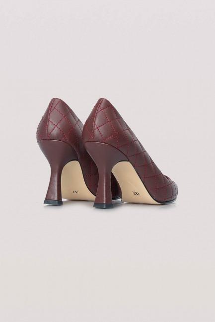 Kapitone Topuklu Ayakkabı (Bordo) - Thumbnail