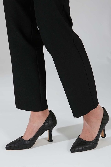Kapitone Topuklu Ayakkabı (Siyah) - Thumbnail