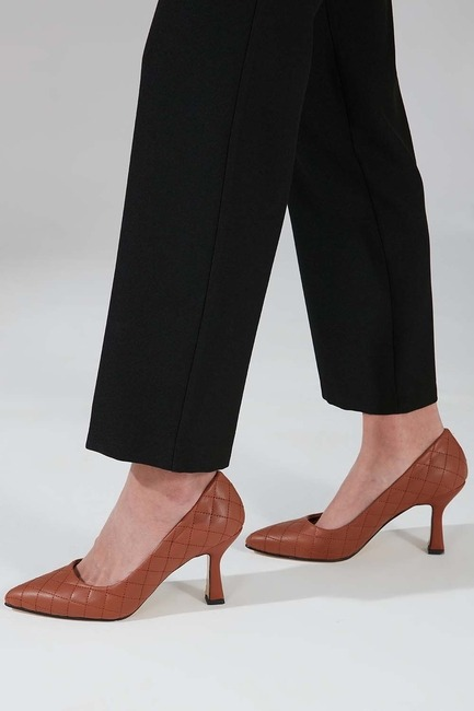 Kapitone Topuklu Ayakkabı (Taba) - Thumbnail