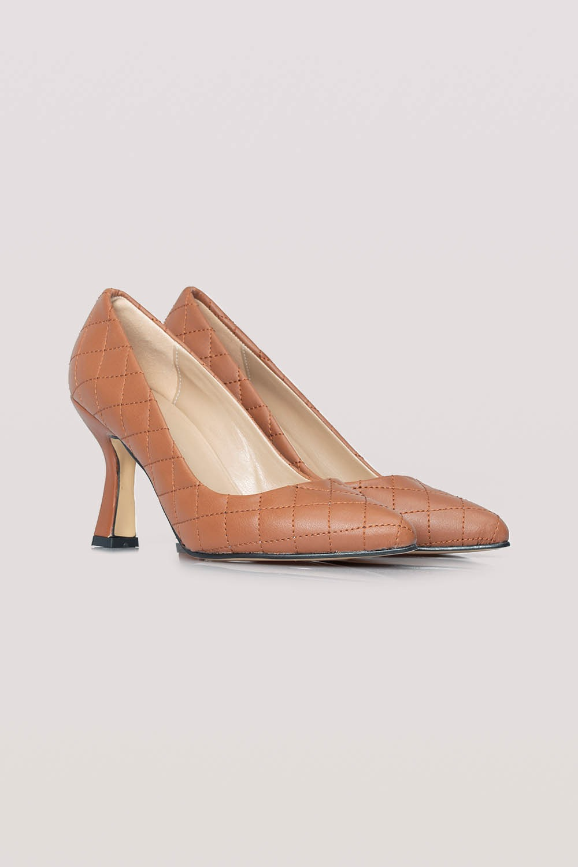 Kapitone Topuklu Ayakkabı (Taba)