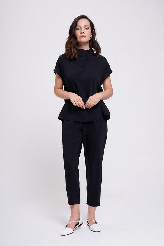 Kaplama Düğmeli Bluz (Siyah)