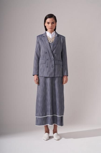 Mizalle - Kaplama Düğmeli İndigo Ceket
