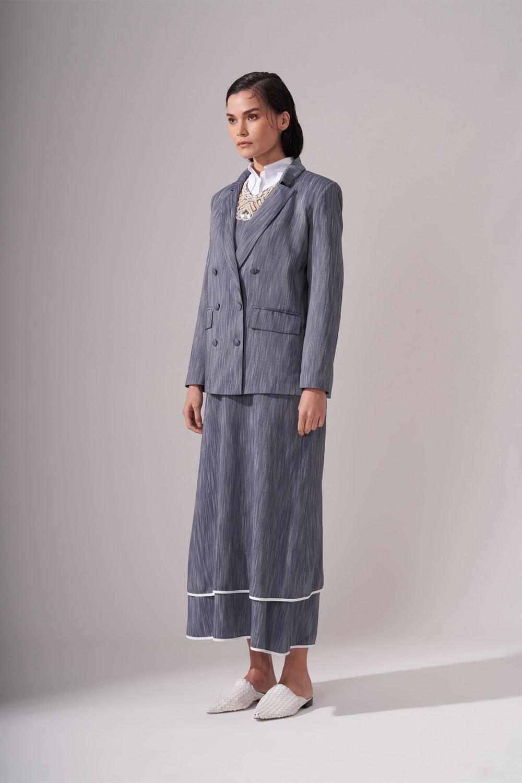 Kaplama Düğmeli İndigo Ceket