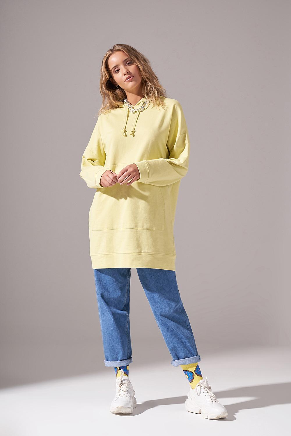 Kapüşonlu Basic Fıstık Yeşili Sweatshirt
