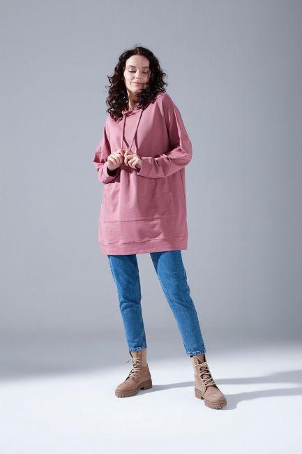 Mizalle - Kapüşonlu Basic Sweatshirt (Gül Kurusu)
