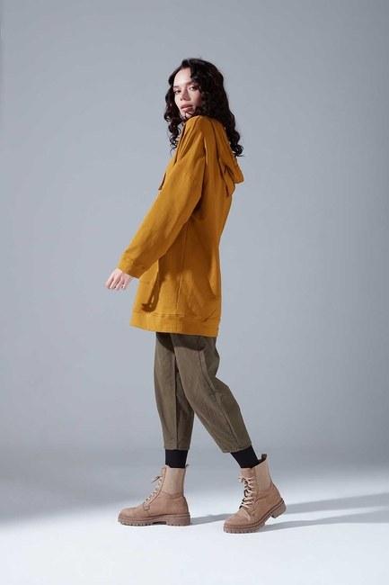 Kapüşonlu Basic Sweatshirt (Hardal) - Thumbnail