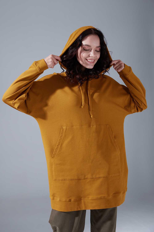 Kapüşonlu Basic Hardal Sweatshirt