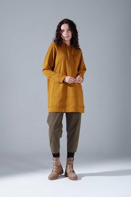 Mizalle - Kapüşonlu Basic Sweatshirt (Hardal)